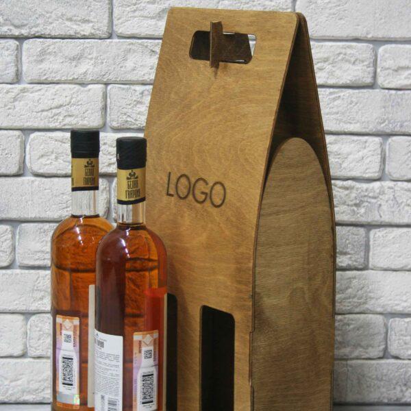 Деревянный пакет на 2 бутылки