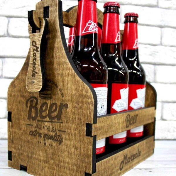 Деревянный ящик для пива «С собой в отбой»