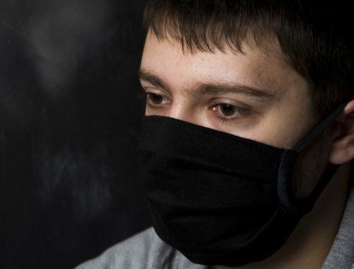 Маска черная медицинская тканевая 3-х слойная повязка на лицо